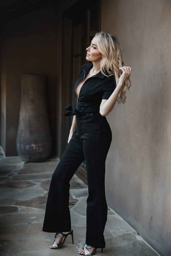 Jenna Denim Jumpsuit - Black - Front