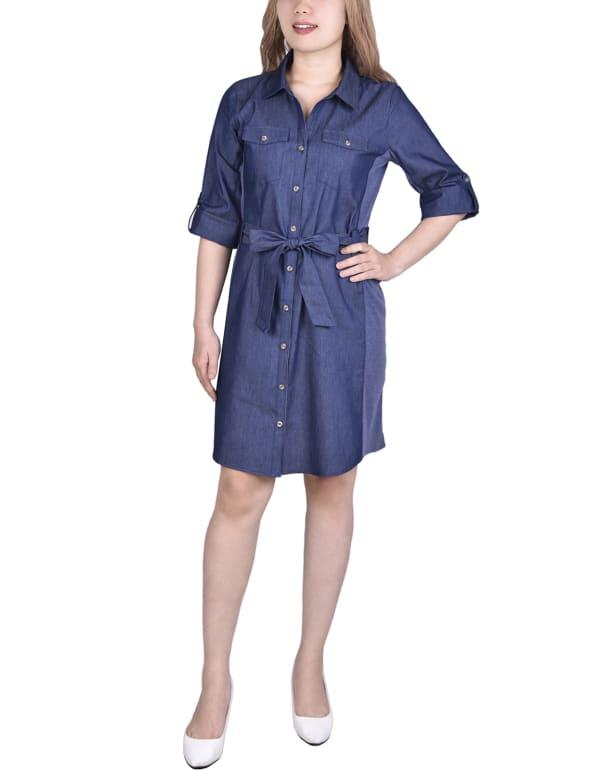 3/4 Sleeve Roll Tab Denim Dress With Rib Knit Insets