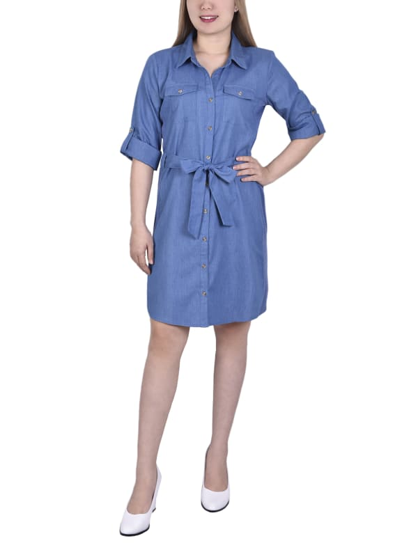 Petite 3/4 Roll Tab Sleeve Denim Dress With Knit Side Seam Insets