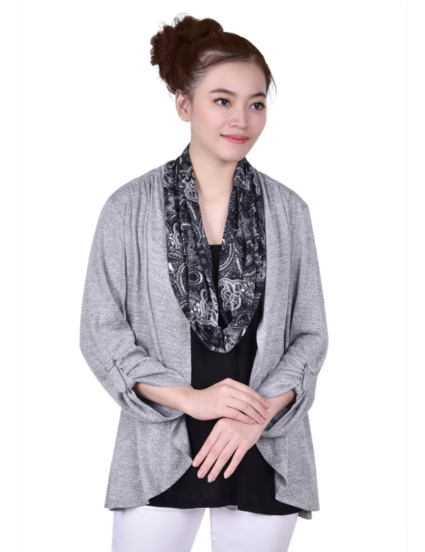 3/4 Roll Sleeve 3Fer With Detachable Scarf