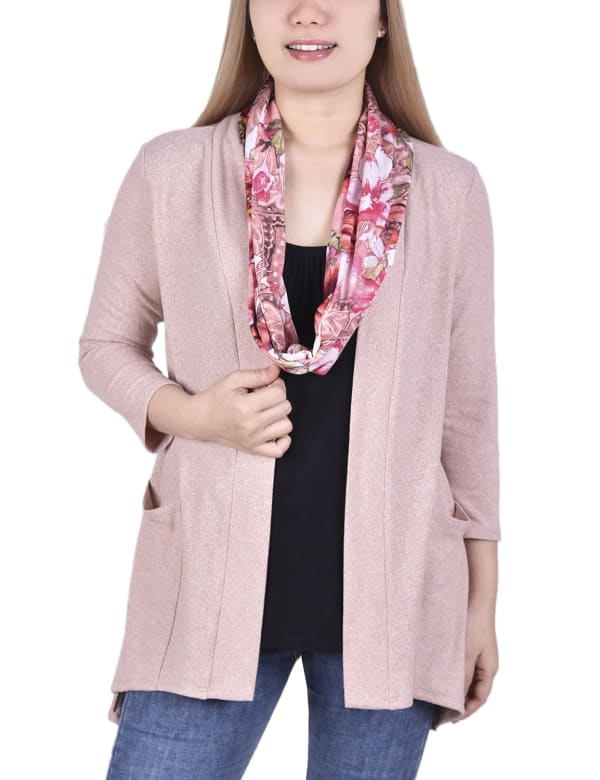 Petite Cardigan With Inset And Detachable Printed Scarf