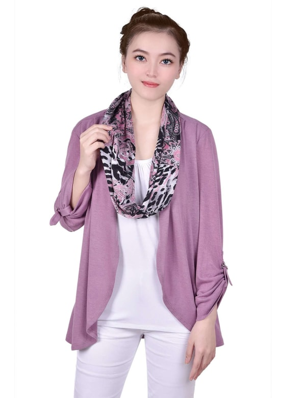 3/4 Roll Sleeve 3Fer Cardigan With Detachable Scarf - Petite