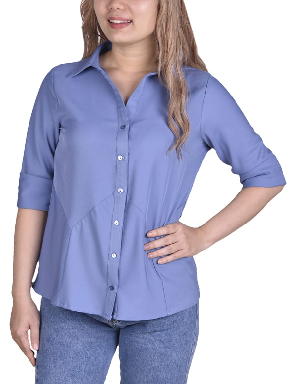 Long Sleeved Seamed Blouse With Wide Cuffs - Petite