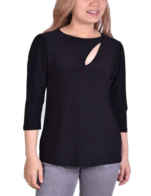 3/4 Sleeve Cutout Pullover