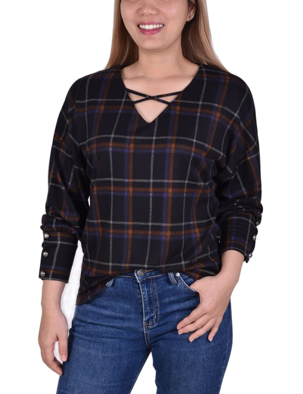 Long Sleeve Plaid Criss Cross Top With Wide Cuffs