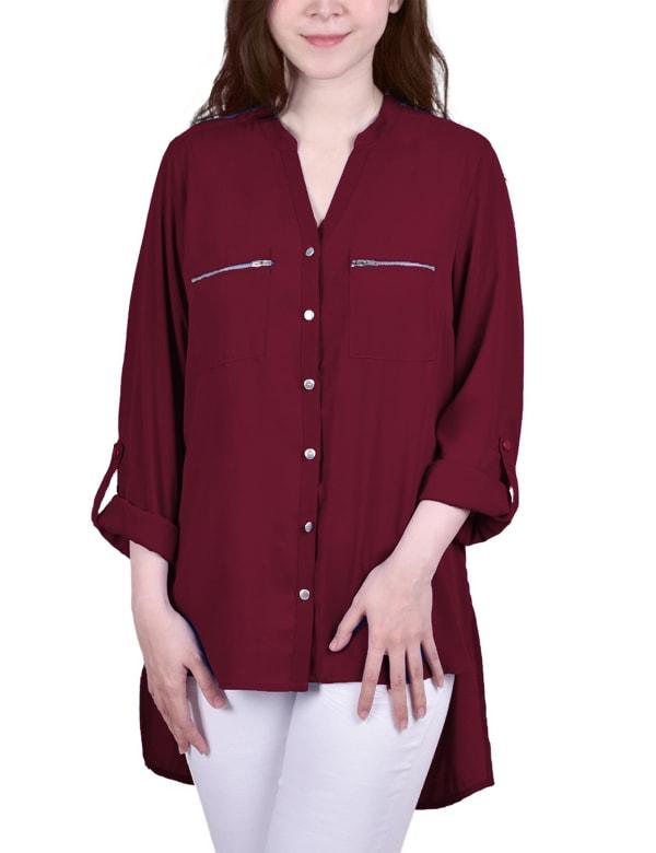 Roll Tab Sleeve Mandarin Collar Blouse With Zippered Pockets