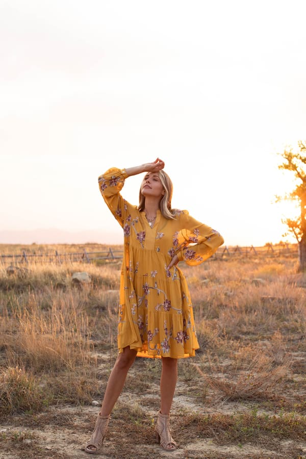 Odessa Mustard Embroidered  Baby Doll Dress - Mustard - Front