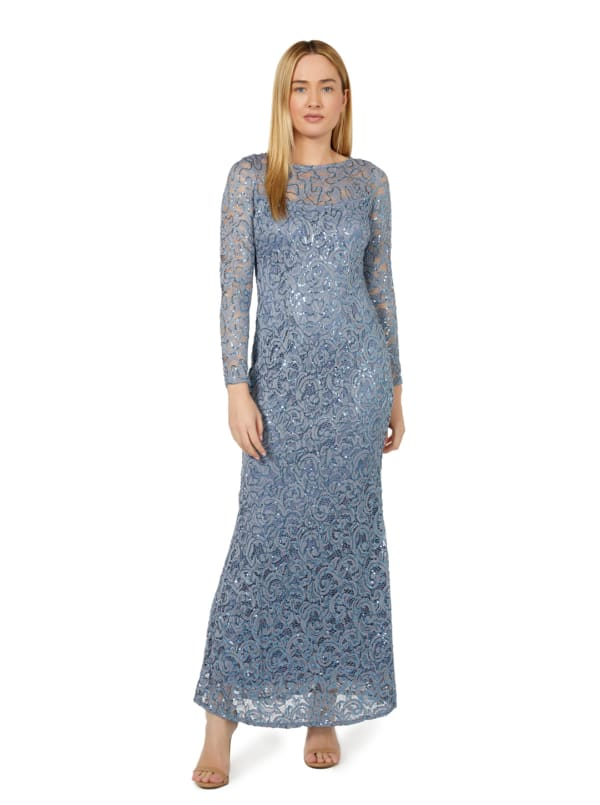 Marina Long Sleeve Illusion Neck Long Gown