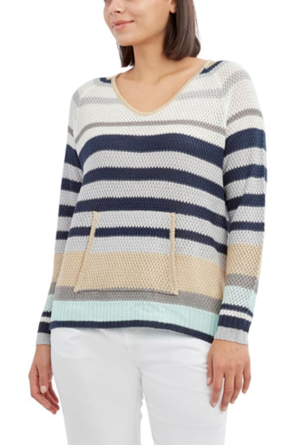 Caribbean Joe High Low Beach Sweater - Blue Stripe - Front