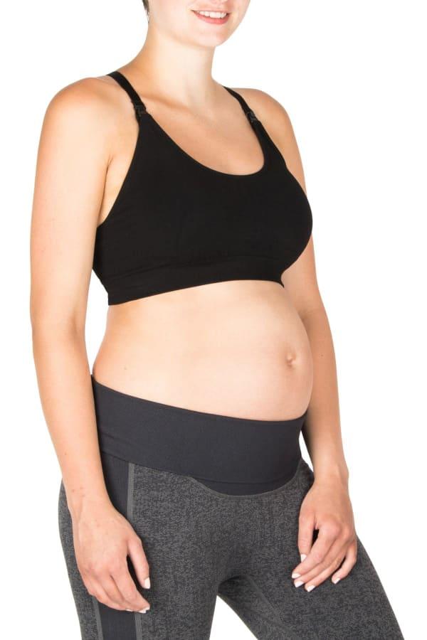 Modern Eternity Bella Yoga Maternity Nursing Yoga Bra Black