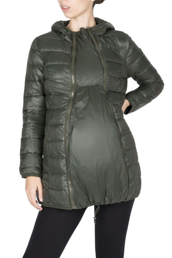 Modern Eternity Ashley Maternity 3 in 1 Removable Sleeves Jacket - Khaki Green - Front