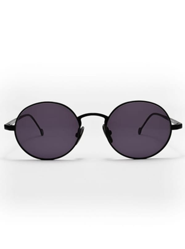 Theo Oval Sunglasses - Black / Dark Grey - Front