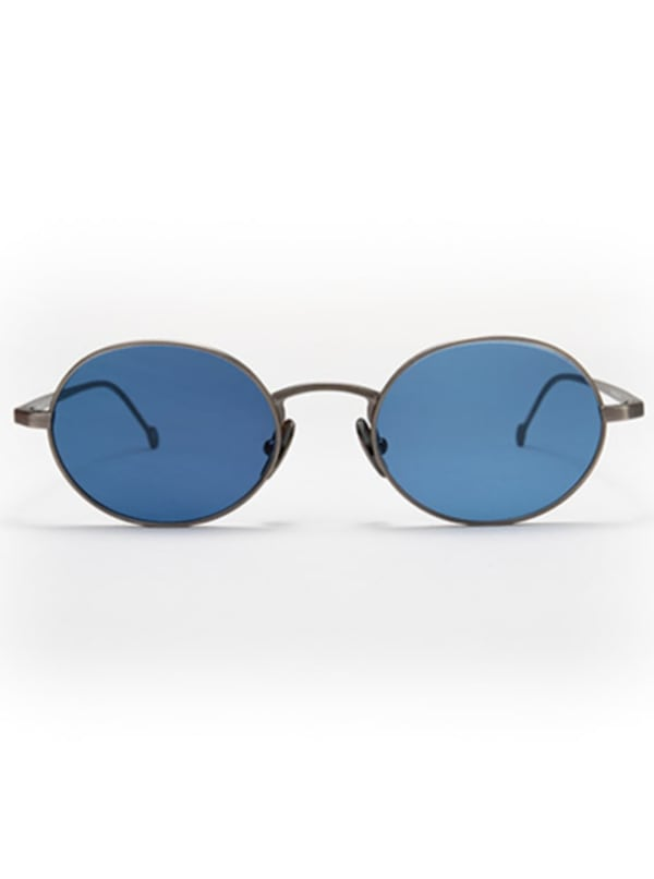 Theo Oval Sunglasses - Silver / Blue - Front