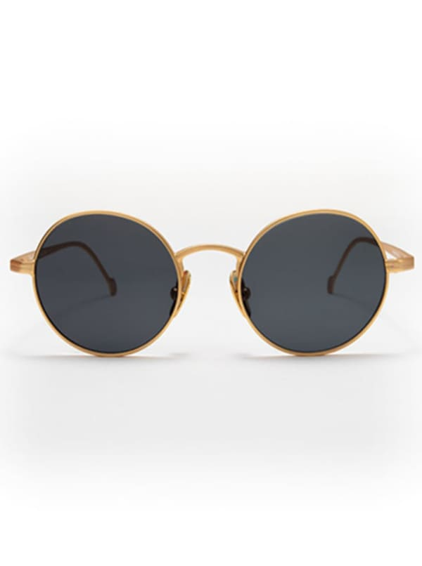 Theo Oval Sunglasses - Gold / Green - Front