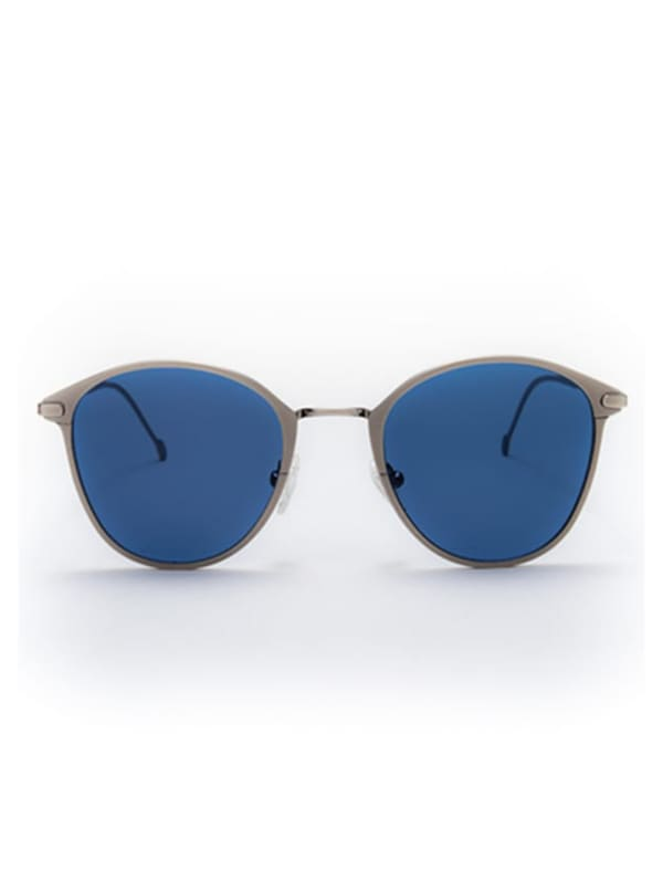 Ned Sunglasses - Antique Silver / Blue - Front
