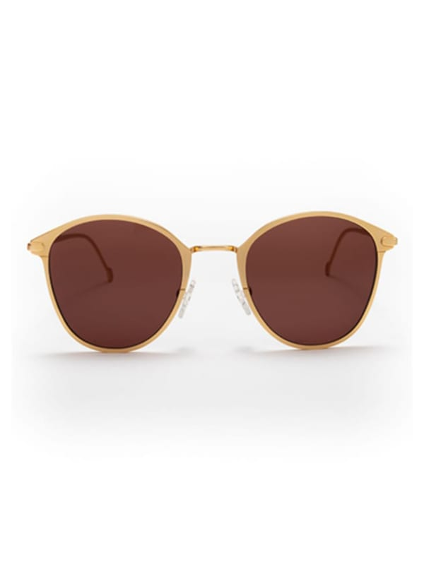 Ned Sunglasses - Matte Gold / Brown - Front