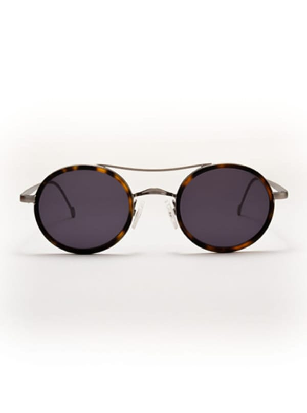 Mason Sunglasses - Brown Tortoise / Antique Silver / Dark Grey - Front