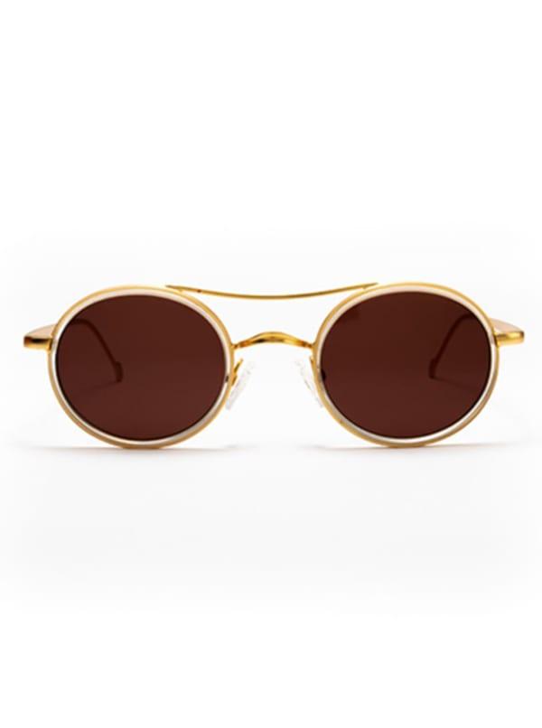 Mason Sunglasses - Transparent / Matte Gold / Brown - Front