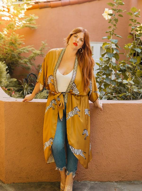 Women's Curve Enhancing Goddess Long Zebra Kimono - Yellow - Front