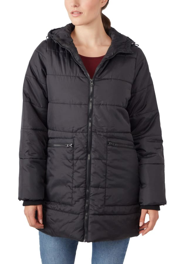 Modern Eternity Gianna 3-in-1 Maternity Hybrid Puffer Jacket - Black - Front