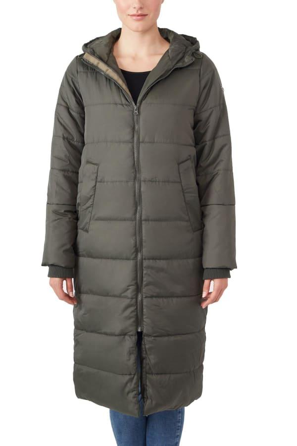Modern Eternity Penelope Maternity 3 in 1 Long Puffer Coat - Khaki Green - Front