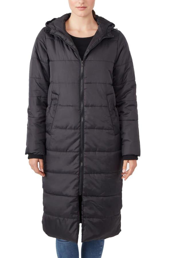 Modern Eternity Penelope Maternity 3 in 1 Long Puffer Coat - Black - Front