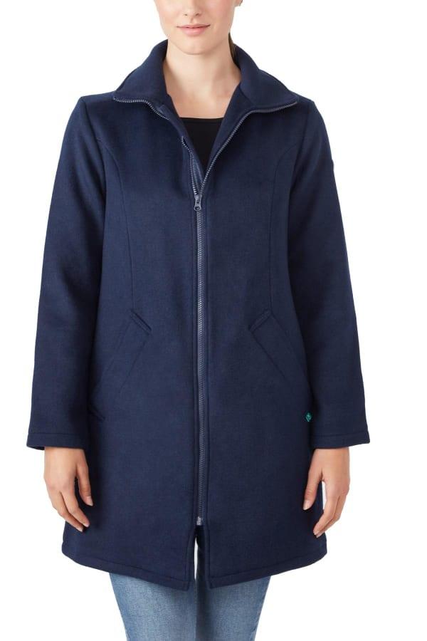 Modern Eternity Khloe 3-in-1 Wool Maternity Coat Semi-Fitted - Navy - Front