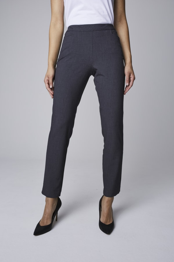 Roz & Ali Secret Agent Pull On Tummy Control Pants with L Pockets - Petite - Grey - Front