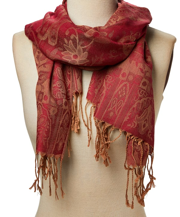 Women Floral Scarf Jacquard Scarves Paisley Pashmina Acrylic Shawl Wrap Stole
