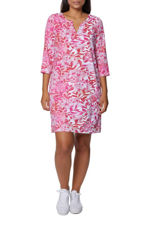 Caribbean Joe Yoke Neck Dress - Hot Pink - Front