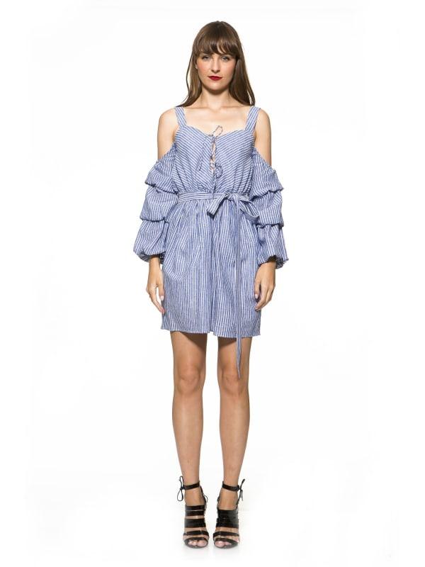 Adelynn Striped Dress - Blue Stripe - Front