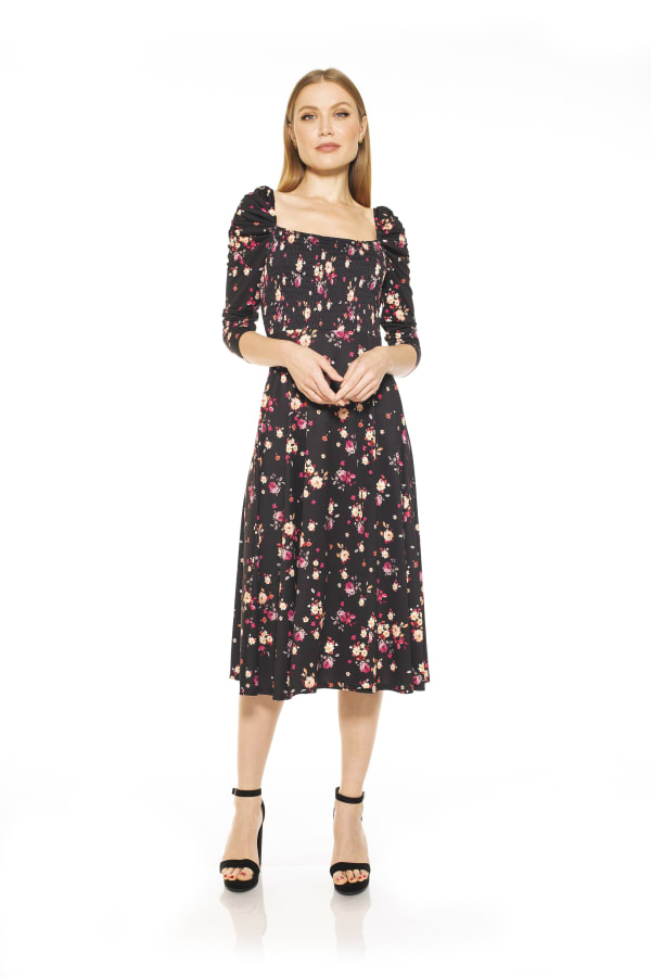 Lila Fit and Flare Dress - Black Ditzy - Front