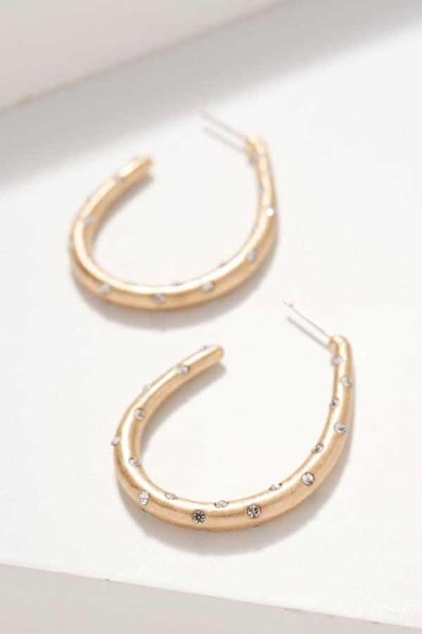 Paved Teardrop Open Hoop Earrings