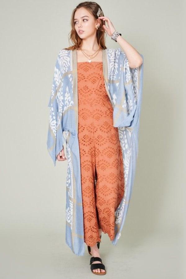 Long Mixed Print Kimono - Denim Blue - Front