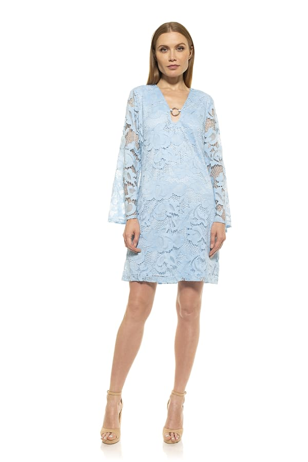 Faye Flare Sleeve Keyhole Lace Dress - Airy Blue - Front
