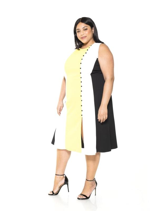 Anna Midi Colorblock Dress - Plus - Yellow / Multi - Front