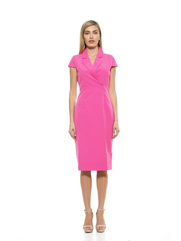 Kennedy Cap Sleeve Lapel Midi Dress - Pink - Front