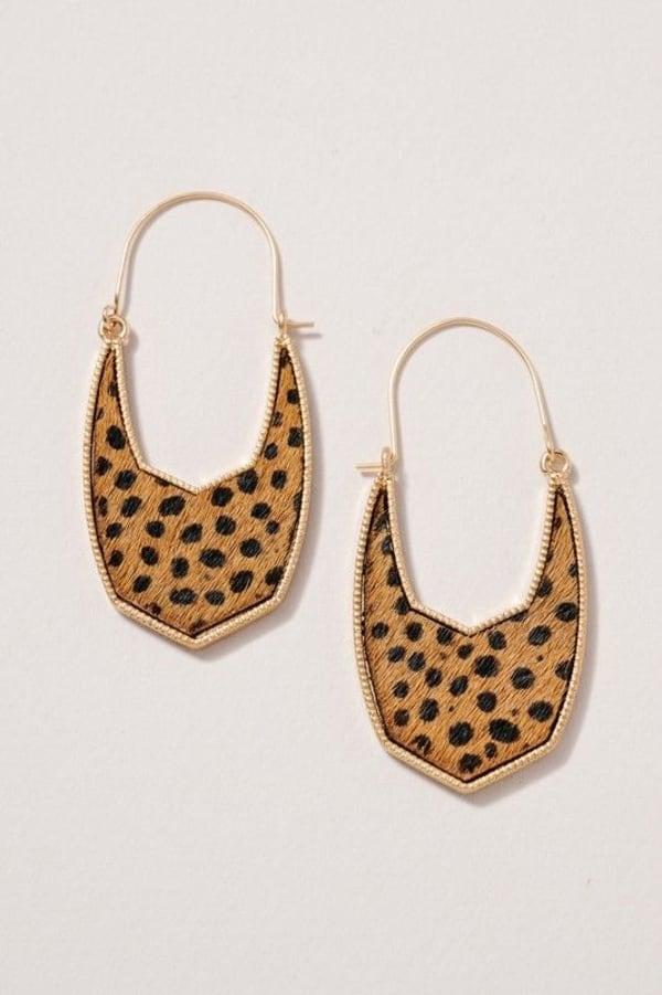 Geometric Animal Calf Hair Hoop Earrings - Cheetah Tan - Front