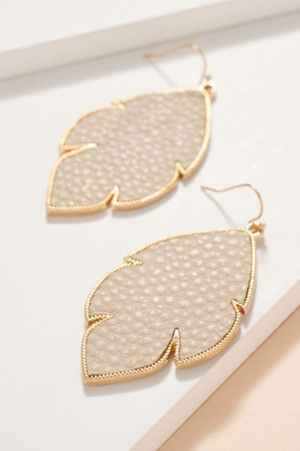 Feather PU Leather Dangling Earrings - Ivory - Front