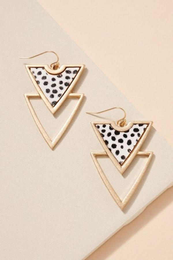 Animal Print Double Triangle Earrings -Cheetah Ivory - Front