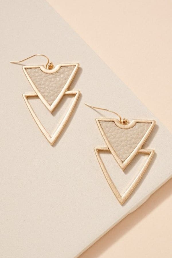 Double Triangle Leather Patch Earrings - Ivory - Front