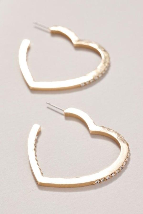 Heart Rhinestones Open Hoop Earrings - Gold - Front