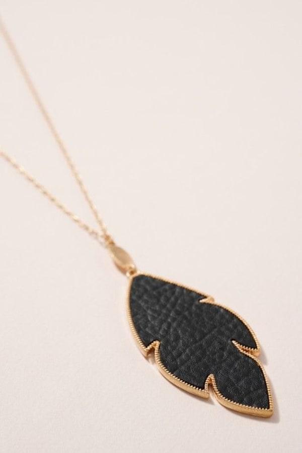 Leather Feather Pendant Long Necklace - Jet Black - Front