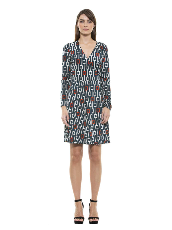 Diana Geo Print Wrap Dress - Emerald - Front