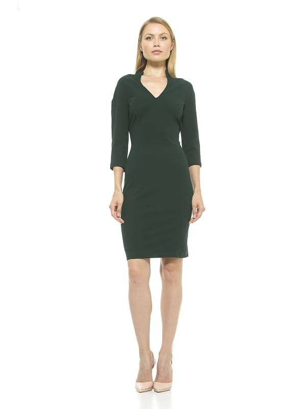 Aria Midi Sleeved Military Neck Dress - Green - Front