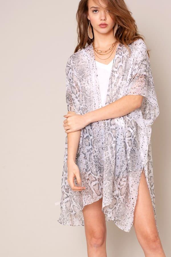 Python Print Kimono - Light Grey - Front
