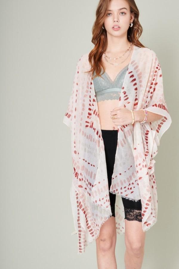 Paint Splash Print Kimono - Pink - Front
