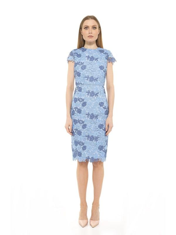 Arabella Cap Sleeve Crewnk Chunky Lace Dress