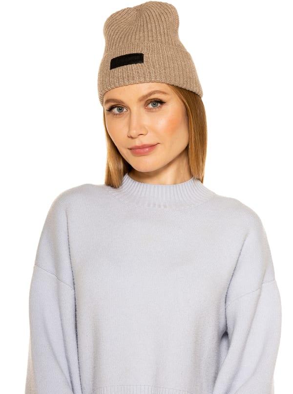 Alexia Beanie with Logo - Beige - Front