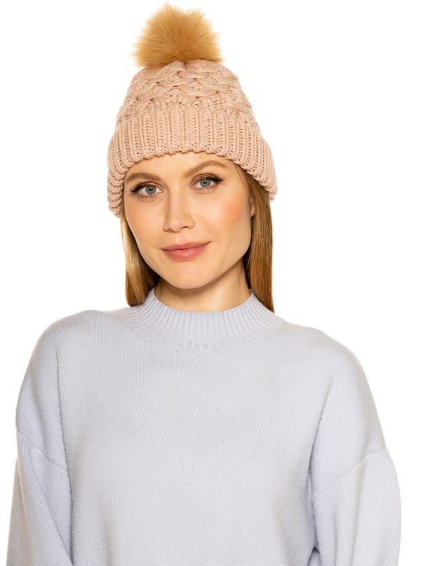 Amanda Cable Knit Beanie with Pom